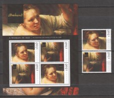 Guyana - MNH Sheet & Serie (2) PAINTING REMBRANDT - A WOMAN IN BED (1648) - Rembrandt