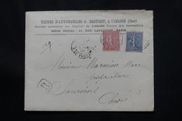 FRANCE - Enveloppe Commerciale ( Voitures Brouhot ) En Recommandé De Vierzon En 1903 Pour Sancoins  - L 60641 - Marcophilie (Lettres)
