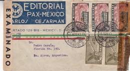 EDITORIAL PAR MEXICO. MEXIQUE COMMERCIAL COVER CIRCULEE A BUENOS AIRES, ARGENTINA EN 1943 PAR AVION CENSURE  -LILHU - Mexique