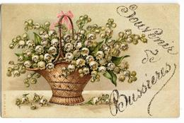 Souvenir De BUSSIERES Ed. A&M B N°430, Fantaisie Muguet Avec Collage Doré, Envoi 1906 - Otros Municipios