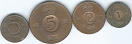 Sweden - Gustav VI - 1 (1965 - KM820); 2 (1956 - KM821) & 5 Öre (1964 - KM822 & 1973 - KM845) - Suecia