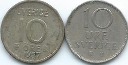 Sweden - Gustav VI - 10 Öre - 1957 - KM823 & 1973 - KM835 - Suecia