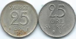 Sweden - Gustav VI - 25 Öre - 1958 - KM824 & 1965 - KM836 - Suecia