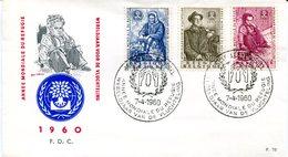 14160189 Belgium 19600704 Bx Année Réfugié Fdc Cob1125-27 - 1951-60