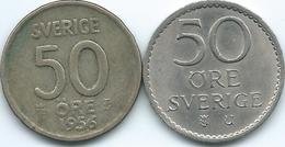 Sweden - Gustav VI - 50 Öre - 1956 - KM825 & 1969 - KM837 - Suecia