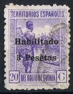 Sello 3 Pts Sobre 20 Cts Habilitado GUINEA Española 1942, Num 267 º - Guinea Española