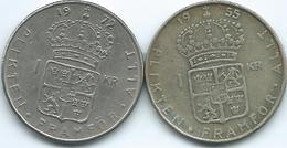 Sweden - Gustav VI - 1 Krone - 1955 - KM826 & 1972 - KM826a - Suecia