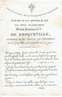 GIJZEGEM - Maria Paulina De BROQUEVILLE - Overleden Op Het Kasteel Van GHYSEGHEM 1853 - Devotion Images