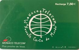 MONACO  - Carte Du Monde  - MF 53d -  Recharge Verte 7,50 E. - Monaco