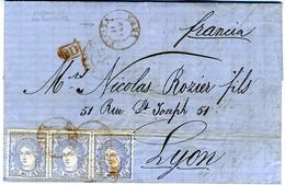 ESPAGNE 1871  LETTRE  IRUN A BORDEAUX  3 X 50MILS N° 107     Ref LC31 - Cartas