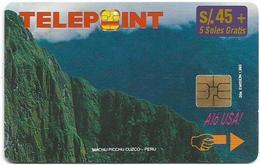 Peru - Telepoint - Machu Picchu Puzzle Piece 2/4 (Reverse 'Telecable'), 45+5Sol, 8.500ex, Used - Peru
