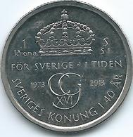 Sweden - 2013 - Carl XVI Gustaf - 1 Krone - KM927 - 40th Anniversary Of Reign - Suède