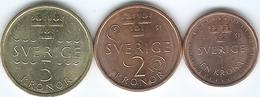 Sweden - 2016 - Carl XVI Gustaf - 1 Krone - KM928; 2 Kronor - KM929 & 5 Kronor - KM930 - Suecia