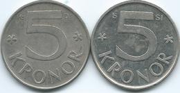 Sweden - 5 Kronor - Carl XVI Gustaf - 1987 - KM853 & 2009 - KM853a - Suecia