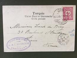 Entier Postal- Jerusalem-Ligne PAQ. FR N°8- 3 Mars 1904 - Palestine