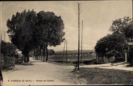 Cp Vigneux Sur Seine Essonne, Route De Corbei - France