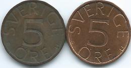 Sweden - 5 Öre - Carl XVI Gustaf - 1977 - KM849 & 1981 - KM849a - Suecia