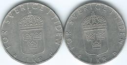 Sweden - 1 Krone - Carl XVI Gustaf - 1977 - KM852 & 1990 - KM852a - Suecia