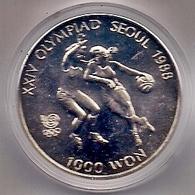 COREA DEL SUR 1986 - JUEGOS OLIMPICOS DE SEUL '88 - 1000 WON - NIQUEL - BALONCESTO - KM # 46 - Korea, South