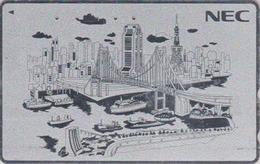 TC ARGENT Japon / 110-170815 - NEC - BATEAU & PONT - SHIP BRIDGE & TOKYO TOWER Japan SILVER Phonecard - SCHIFF - 440 - Boats