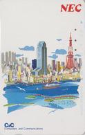 Télécarte Japon / 110-112902 - NEC Série Peinture - BATEAU - SHIP & TOKYO TOWER - Japan Painting Phonecard - 03 - Boats