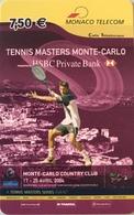 MONACO  -  Prepaid  -  Tennis Masters Monte-Carlo  -  Monaco Telecom  -  7,50 E. - Monace