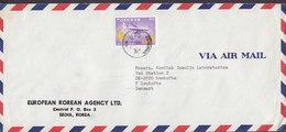 Korea EUROPEAN KOREAN AGENCY Ltd. SEOUL 1974 Cover Brief Nordisk Insulin Laboratorium GENTOFTE Denmark Aeroplane Stamp - Korea (Süd-)