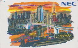 TC Japon / 110-133092 - NEC Série Peinture - BATEAU & PONT- SHIP BRIDGE & TOKYO TOWER - Japan Painting Phonecard - 04 - Boats