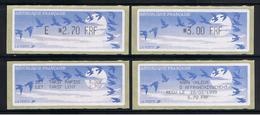 4 ATMs, LISA1, ENCRE NOIRE, E 2.70FRF Et 3.00FRF EN  COMMANDE GROUPEE AVEC 2 RECUS. PAPIER JUBERT BLEU FONCE. - 1990 «Oiseaux De Jubert»