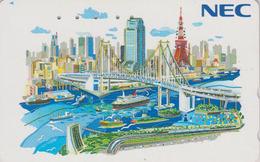 TC Japon / 110-133093 - NEC Série Peinture - BATEAU & PONT- SHIP BRIDGE & TOKYO TOWER - Japan Painting Phonecard - 05 - Boats