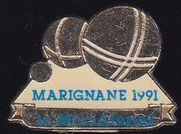 64801 -Pin's-Pétanque.Marignane 1991.Journal Le Meridional.Presse. - Bowls - Pétanque