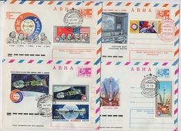 SPACE Stationery 4 Cover Mail USSR RUSSIA Rocket Sputnik Lot Set Stamp Soyuz Apollo Baikonur - Lettres & Documents