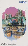 TC Japon / 110-157722 - NEC Série Peinture - BATEAU & PONT - SHIP BRIDGE & TOKYO TOWER - Japan Painting Phonecard - 12 - Boats