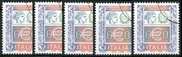 REPUBBLICA  2002 - Alti Valori Ordinari  €6,20 - Sass. 2584  Lotto Di 5v. Usati - 6. 1946-.. Repubblica