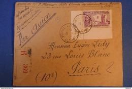 466 ALGERIE CARTE 1946 RECOMMANDé PAR AVION POUR PARIS RUE LOUIS LEBLANC 10 EME - Lettres & Documents