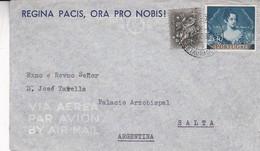 REGINA PACIS, ORA PRO NOBIS. PORTUGAL COMMERCIAL COVER CIRCULEE A PALACIO ARZOBISPAL, SALTA, ARGENTINE ANNEE 1953 -LILHU - 1910-... Republiek