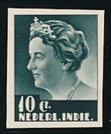 Nederlands Indië - 1933 - 10 Cent Wilhelmina Middenstuk, Proef 172d, Donkergrijs - Klein Formaat - Niederländisch-Indien