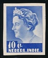 Nederlands Indië - 1933 - 10 Cent Wilhelmina Middenstuk, Proef 172b, Ultramarijn - Klein Formaat - Niederländisch-Indien