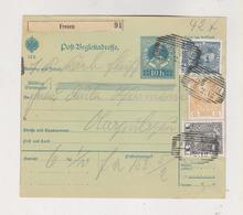 AUSTRIA 1913 FRESEN Parcel Card - Lettres & Documents