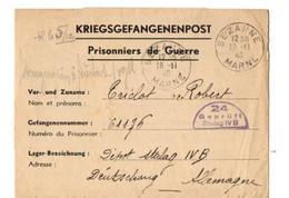B7 19 11 1940  Lettre  FM  D'un Prisonnier De Guerre Au Stalag IV B - Marcophilie (Lettres)