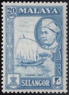 Malaya Selangor 1957-60 MH Sc #108 20c Fishing Craft, Sultan Hisam-ud-Din Alam Shah - Selangor