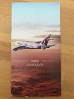 QATAR AIRWAYS ECONOMY CLASS MENU A380 DOH-CHN/YC/LD3-BR3/SC-V1 - Menu Kaarten