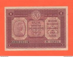 Italia 1 Lira  Cassa Veneta Prestiti 1918 Buono Di Cassa War Currency - [ 4] Emisiones Provisionales