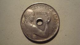 MONNAIE ESPAGNE 25 CENTIMOS 1934 ( République ) - Provincial Currencies