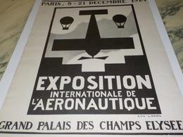 ANCIENNE PUBLICITE  EXPOSITION  INTERNATIONALE AERONAUTIQUE 1924 - Aviation Commerciale