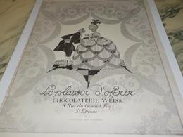 ANCIENNE PUBLICITE PLAISIR D OFFRIR CHOCOLAT WEISS 1924 - Affiches