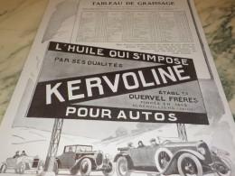 ANCIENNE PUBLICITE TABLEAU DE GRAISSAGE  HUILE KERVOLINE 1924 - Vervoer