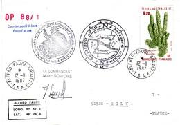 FSAT TAAF Marion Dufresne. 12.11.87 Crozet OP 88/1 - Briefe U. Dokumente