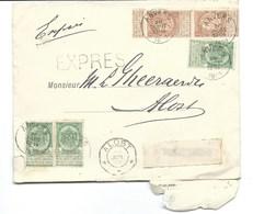 Cover 1899 Strook Nr57 Blok Nr 56 Express Zending Aalst Antwerpen - Ganzsachen