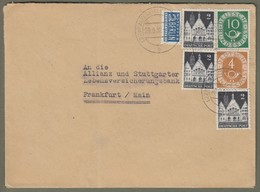 Bizone + Bund: Brief Mit 3x Bizone Mi-Nr. 73 Hist. Bauten U. Bund 124 U. 128 Posthorn  !    X - BRD